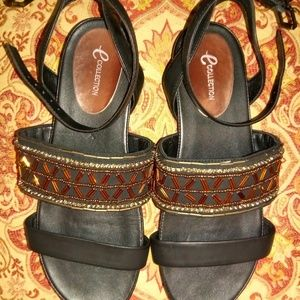 Easy Spirit Shoes - Easy Spirit Sandals 7W Black with Copper beads